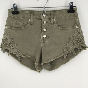 Mossimo Shorts High Rise Crochet Lace Button Fly